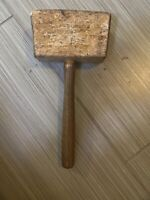 Antique Wooden Mallet Hammer Primitive Carpenter Tool WOOD Woodworking Farmhouse