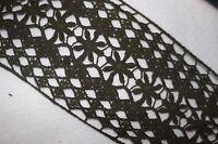 "1 yard Olive Green cotton cluny crochet sewing craft  non stretch trim 4.5"" c6"