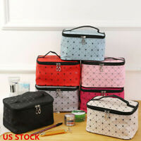 Travel Professional Large Makeup Bag Cosmetic Case Storage Handle Wash Organizer