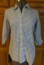 Oh! Mama Maternity blue striped shirt 3/4 sleeves collar career Small S