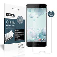 1+1x HTC U Play Schutzfolie matt - Folie Glasfolie 9H dipos Glass Displayfolie