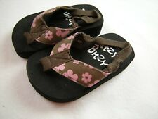 Baby Toddler Girl size 3 Brown Pink floral flip flop sandals Itzy Bitzy Boutique