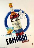 Campari Bitter 1950 Aperitif Vintage Poster Print Italian Liquor Drink Bar Decor