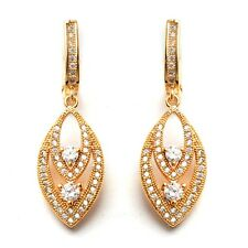 Banquet Jewelry Earrings 24K Gold Filled Clear C.Z Stone Women's Hoop Earrings