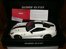 FERRARI 599 GTO MR COLLECTION   FUJI WHITE /BLACK STRIPE  1/18 EME LIMITED RARE