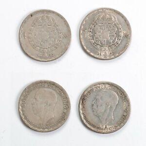 SVEZIA Lotto 2 Monete 1 Krona 1947 1949 - Argento Silver