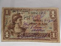 USA MPC 1 DOLLAR 1954 #521, KOREAN WAR, MILITARY AUTOGRAPHS LOHMAR, RUSSEL, MORE