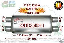 "Max Flow Muffler 22"" Oval Body 2 1/2"" 2.5"" Pipe Dual/Dual 28"" OAL 22DD250511"