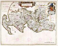Map Antique Blaeu Scotland 1654 Galloway Old Large Replica Canvas Art Print