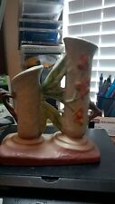 "VINTAGE ROSEVILLE ART POTTERY BITTERSWEET DOUBLE BUD VASE #837-6"" From 40s"