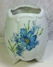 Narco Vintage Vase Bowl Blue Floral on White Has Feet Shabby Cottage From Japan