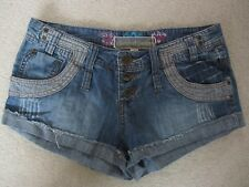 HOUSE OF DENIM NEW LOOK Lightweight Button Fly Blue Denim SHORTS Hot Pants UK 10