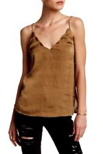 Women's Free People Scallop Satin Fatigue Olive Green Camisole Top size S $58