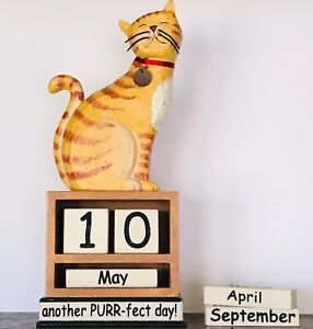 Vintage Carved & Painted Wood Striped Kitty Cat Perpetual Desk Calendar