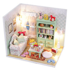 DIY Mini Doll House with Furniture, w/ Lights & Transparent Dust Cover