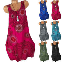 Women's Boho Floral Lace Tank Tops Midi Dress Summer Beach Baggy Party Sundress