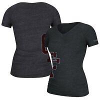 "Reebok CrossFit ""CF"" Distressed Logo Women's Black V-Neck Tri-Blend  T-Shirt"