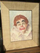 Halloween Creepy Haunting Sad Scary Clown Joker Painting Art Vintage '65