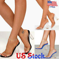 Women Lady Transparent PVC Chunky Heels Block Ankle Strap Sandals Party Dress