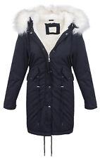 Ladies Winter Jacket Parka Elegant Faux Fur Warm Blue Khaki D-239 NEW