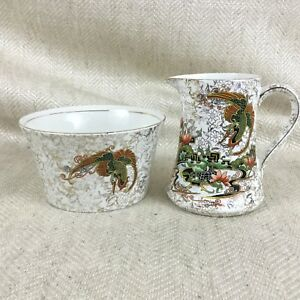 Antique Creamer Jug & Sugar Bowl Art Deco Phoenix Ware Thomas Forester & Sons