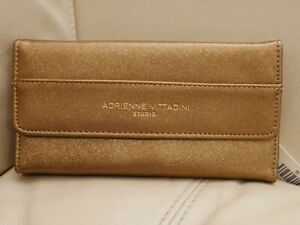 NWT WOMEN'S ADRIENNE VITTADINI FOLD OUT  WALLET BRONZE GLITTER LEATHER RFID