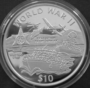 Liberia 10$ Silver Proof 1997 World War II Evacuation from Dunkirk