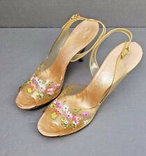 VTG 1950'S SLING BACK HEELS ~HAND PAINTED~ CLEAR PLASTIC ~VAMPS~SHOES Size 7.5 N