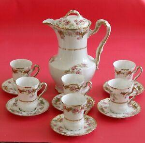 Antique Limoges Coronet Chocolate Pot Coffee/Tea Set Pink Morning Glories Gold