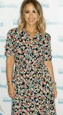 Zara Long Floral Print Maxi Shirt Dress Marilyn Button Front Size M 10 12