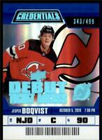 2019-20 Credentials Base Debut Ticket Access #130 Jesper Boqvist RC /499
