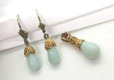 Sterling Silver / Aventurine / Ruby Pendant and Earrings 5.3 grams