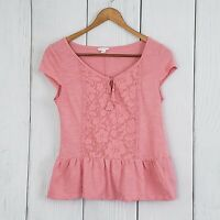 AEROPOSTALE size XS Pink Lace Cap Short Sleeve Peplum Pullover Blouse Shirt Top