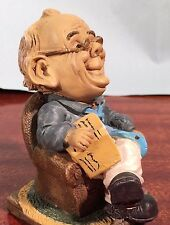 Vintage BALD MAN & LAZYBOY Chair BOOK Figurine HANDPAINTED Sculpture comic art