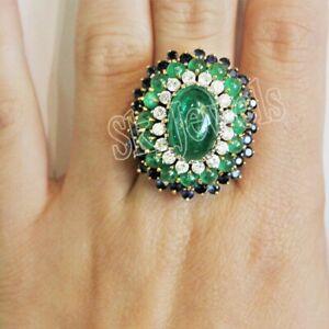 IGI Certified 0.64ct Natural Round Diamond 14K Yellow Gold Emerald Sapphire Ring