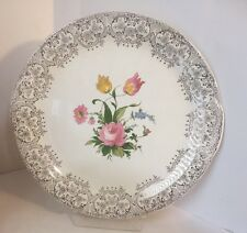 "Vintage Canonsburg 11"" double-handled Porcelain Cake Plate Gold Filigree Trim"