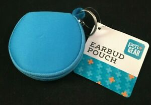 Pen+Gear - Earbud Pouch - Soft Sides - Zipper - Earbud/Cord Storage - Blue