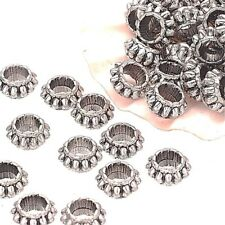 20 x 7mm Rondelle Tibetan Silver Round Metal Spacer Beads