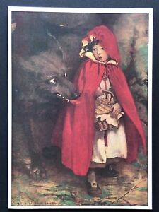 Blank Art Note Card LITTLE RED RIDING HOOD wolf NOS Pleiades Press #118 picnic