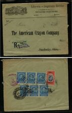Ecuador  large ad cover,  revenue stamp on registered  to  US   1920    MS0607