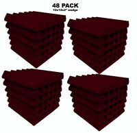 Acoustic Foam BURGUNDY Wedge Studio Soundproofing tiles 48 pack 12x12x2 inch