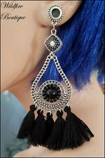 Pair 3 Colours Teardrop Tassel & Beads Pendant Dangle Ear Tunnels Plugs 6-30mm