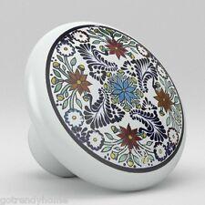 Round Talavera Design Ceramic Knobs Pulls Kitchen Drawer Cabinet Dresser 1196