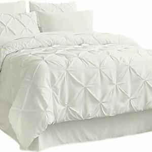 Bedsure Ivory King Size Comforter Sets - Cream Bed in A Bag 8 Pieces Pinch Pl...