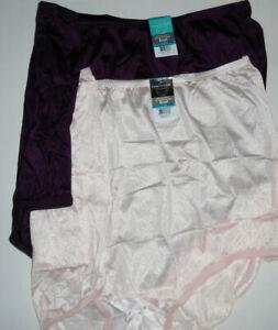 2 Vanity Fair Brief Panty Set Nylon 15712 Light Pink Deep Dark Purple 9 2XL NWT