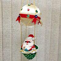 Sears 4776 Santa in Balloon Christmas Mobile Ornament Finished Sequins Felt Vtg