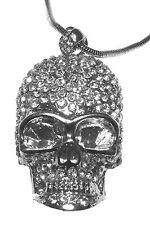 XL 3D Totenkopf Anhänger+Halskette mit Swarovski Kristall Silber Schädel Ketten