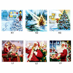 Christmas Canvas Picture 30cm x 30cm LED Light up - Santa or Tree Designs