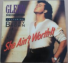 "GLENN MEDEIROS - She ain't worth it - BOBBY BROWN MAXI LP VINYL 12"" 45 RPM 1990"