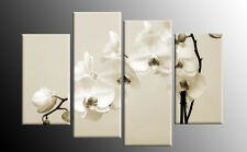 CREAM BEIGE WHITE SEPIA ORCHIDS CANVAS WALL ART PICTURE 4 PANEL MULTI 100CM